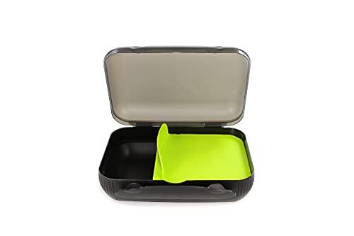 Tupperware To Go 30915, Contenitore porta pranzo con separatore, per sandwich, colore: nero/verde lime