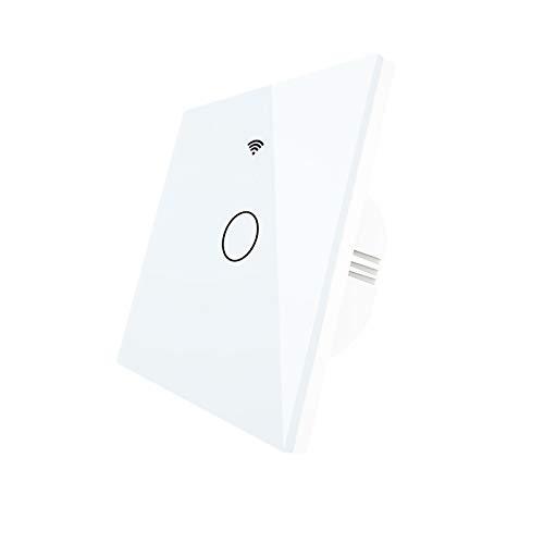 Esenlong Interruptor de luz inteligente WiFi de pared, interruptor táctil, mando a distancia inalámbrico, luz eléctrica, control por aplicación, inalámbrico, compatible con Alexa