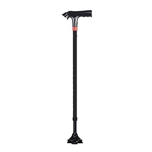 Bastón Para Caminar Ajustable, Bastón Cuádruple con Alarma SOS, Luz LED Antideslizante de 4 Clavijas, Muletas Telescópicas de Aluminio Para Ancianos Multifuncionales, Andadores Ligeros de Apoyo