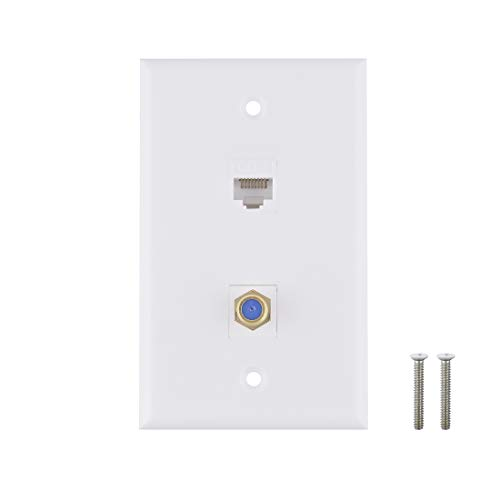Ethernet-, 1Port CAT6Keystone Buchse auf Buchse-– weiß weiß 2 Cat6&1 Coax