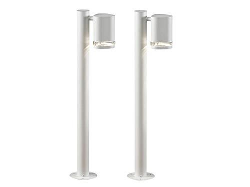 mächtig der welt Set aus zwei weißen MODENA Aluminiumschienen, GU10, Höhe 70 cm, IP44;  Konstsmide 7517-250