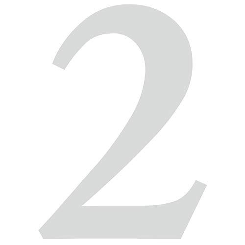 Zahlen-Aufkleber Nr. 2 in silber I Höhe 10 cm I selbstklebende Haus-Nummer, Ziffer zum Aufkleben für Außen, Briefkasten, Tür I wetterfest I kfz_479_2