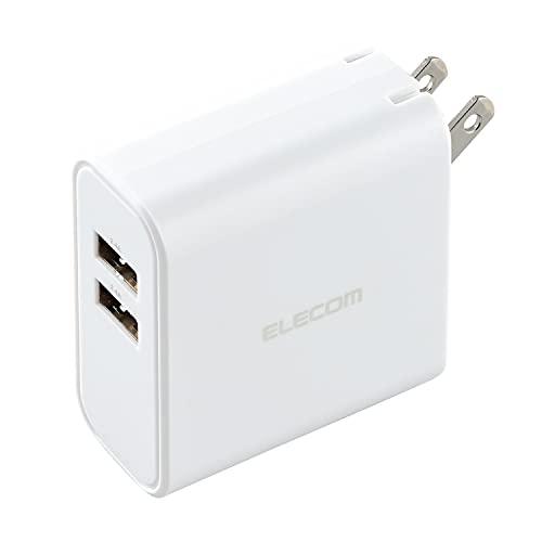 エレコム USB コンセント 充電器 合計24W出力 Aポート×2 【 iPhone/Android/タブレット 対応 】 EC-AC03WH ホワイト