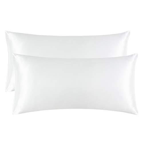 Bedsure Funda Almohada 40x80cm Satén Blanco - Juego de 2 Fundas Almohadas 80x40 Pelo Rizado, Muy Liso Suave de 100% Microfibra, Antiarrugas sin Cremallera, 2 Piezas
