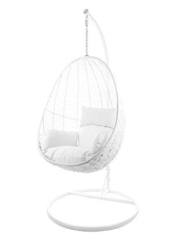 Kideo® Komplettset: Hängesessel mit Gestell & Kissen, Indoor & Outdoor, Poly-Rattan, Lounge (Gestell- und Korbfarbe: weiß, Kissen: weiß Nest (1000 Snow))