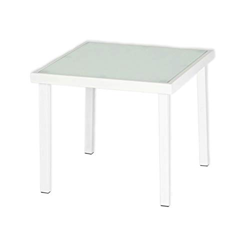 Harbour Housewares Sussex Garden Side Table - Metal Outdoor Patio Furniture - 44 x 44cm - White