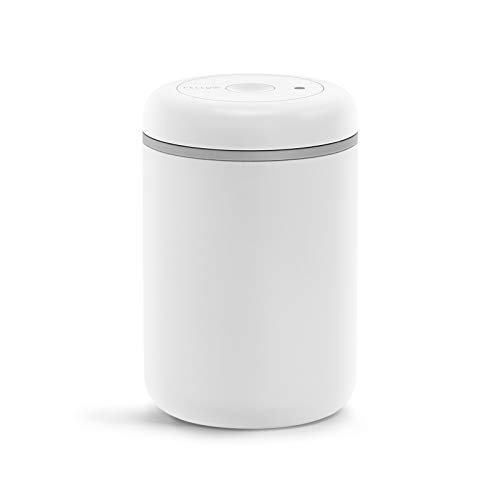 Fellow Atmos Vacuum Canister for Coffee & Food Storage – Airtight Sealed Container, Matte White, Large Coffee Bean Storage, 1.2 Liter Jar