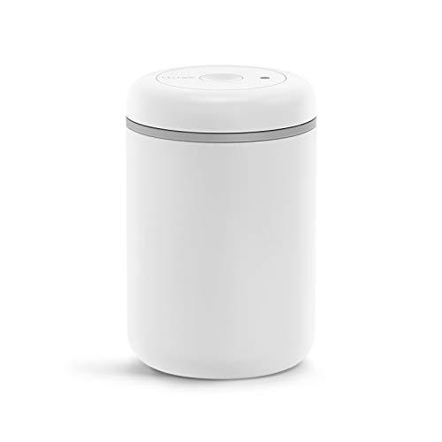 Fellow Atmos Vakuum Kanister zur Aufbewahrung von Kaffee & Lebensmitteln, mattweiß, groß, 1,2 Liter, integrierte Vakuumpumpe, luftdichter Verschluss