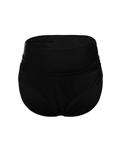 iDrawl Umstands Tankini Hosen Schwangerschafts Bademode, Zweiteiler schwarz Bikinihose für Schwangere UV-Schutz 50,Taille 80-86 cm