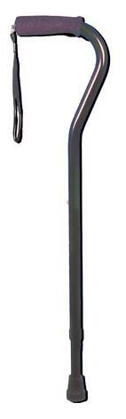 Deluxe Adjustable Cane Offset with Wrist Strap-Black - 1628