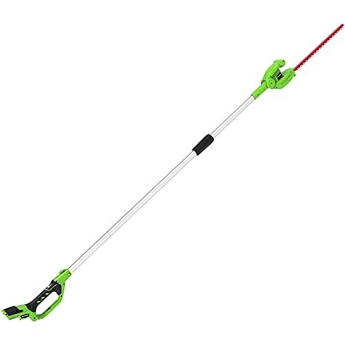 Greenworks Tools Podadora telescópica de 24 V sin batería ni cargador (cuchillas de acero de doble acción de 51 cm de longitud de espada).