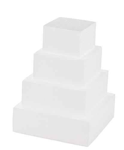 4//6//8inch Round Styrofoam Foam Cake Dummy Sugarcraft Flower Decor Practice Model Fake Dummy Cake Expanded Polystyrene Foam for Wedding Display Window Decorating Craft size 4