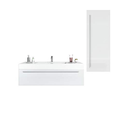 Badezimmer Badmöbel Garcia 120 cm Hochglanz weiß - Unterschrank Hochschrank Waschbecken Waschtisch