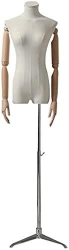 ZSY Maniquíes de Costura Código de Vestimenta del Cuerpo del Torso Femenino con Las Manos y el trípode de Madera para la exhibición de la joyería de la Ropa, 3 Colores (Color : Silver)
