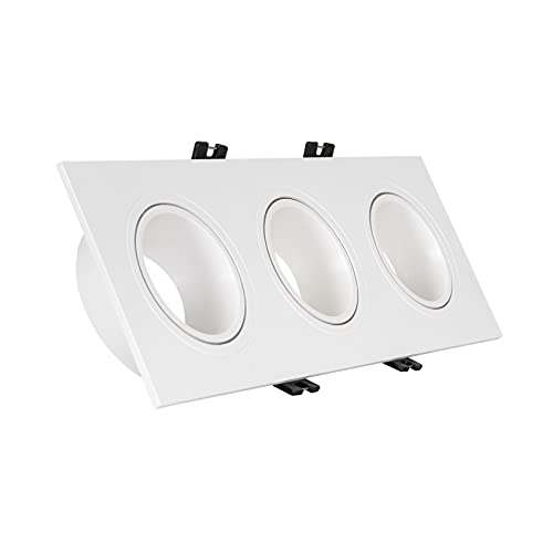 Aro Downlight Cuadrado Basculante PC para tres Bombillas LED GU10 / GU5.3 (Blanco)