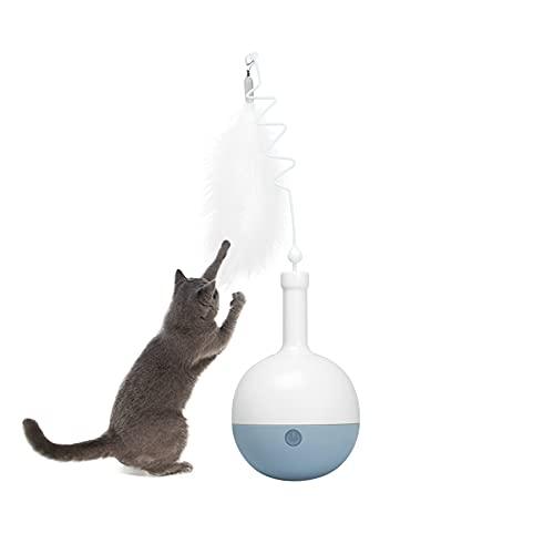 GPR Interaktives Katzenspielzeug, Elektrisches Tumbler Mute Spielzeug für Katzen 360° Automatisch rotierende Teaser Feder, Intellektuelles Trainingsspielzeug ohne Batterien Grau