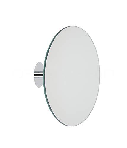 DEUSENFELD KKR5 - Klebespiegel Kosmetikspiegel selbstklebend, Schminkspiegel, Rasierspiegel zum Kleben, 5-Fach Vergrößerung, Kugelgelenk, Ø 20cm, rund, Rahmenlos, mit 3M VHB Klebepads