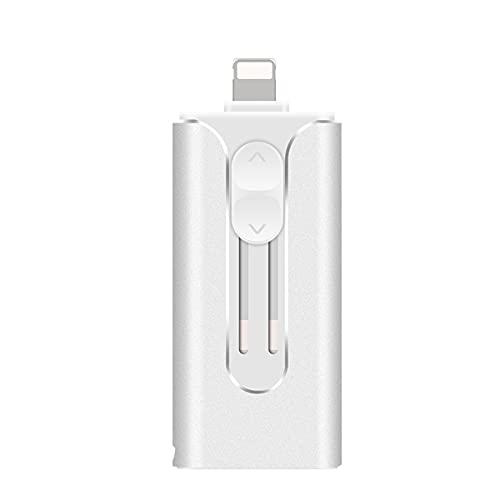 Memoria USB para iPhone, 3 en 1 OTG Memory Stick con adaptador micro USB, USB 3.0 Pulgar unidad PhotoStick Jump Drive para iPad Android Teléfonos/PC (128 GB, Plata)