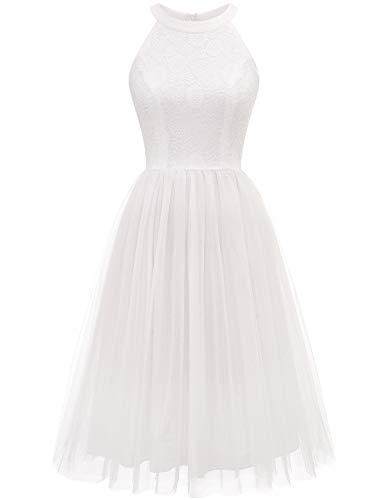 HomRain Damen Cocktailkleid Tüll Kleid Rockabilly Retro Vintage Abendkleid Neckholder Tutu Spitzenkleid Brautjungfern Partykleid White L