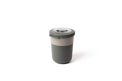 Amuse Lunch Pot mit Zwei Fächern, Blau, 500ml + 200ml, für Müsli-Joghurt, Nudeln, Salat usw. Müsli to Go Becher (Grau)