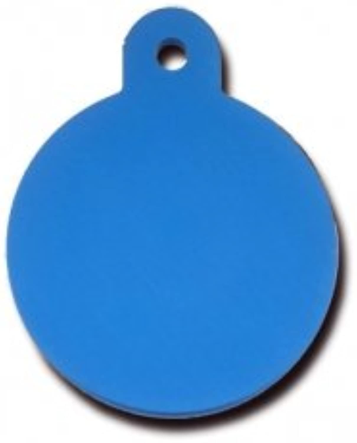 QuickTag Large Circle Aluminum Dog I.D. Tag  bluee