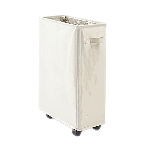 FEANG Cestas de lavandería plegables enrollables con ruedas, portátil, plegable, impermeable, para el hogar, baño, sala de estar, dormitorio, cestas de lavandería (color: blanco)
