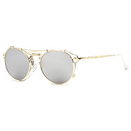 Amethyst Pequeñas Gafas de Sol Redondas polarizadas para Mujeres, Hombres, clásicas, Retro, Gafas de Sol UV400 para IR de Compras, Conducir, Pescar y Otras Actividades al Aire Libre,Gris