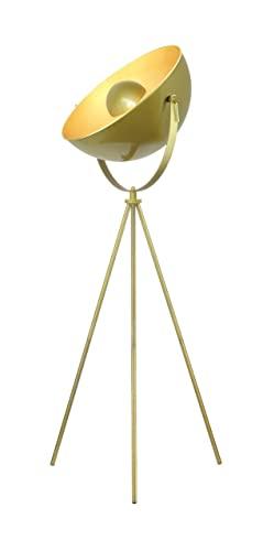 Modernluci - Lámpara de pie con trípode, estilo retro, para salón, dormitorio, latón, 50 cm de diámetro, 156 cm de altura