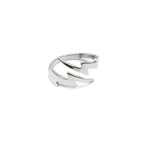 Double Lightning Bolt Wrap Open Ring for Men Boys Women Teen Girls Stainless Steel Fashion Punk Personalized Unique Adjustable Statement Engagement Finger Rings Jewelry Gifts for BFF Birthday Son (8)