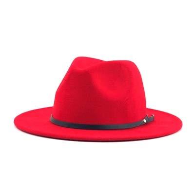 Sombrero Fedora de FieltroVintage Simple para Mujer, Hombre,con ala Ancha, Caballero, Elegante, para Mujer, Invierno, otoño, Jazz, Gorras-red-55-58cm