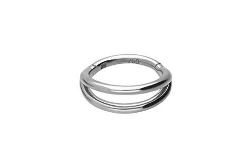 PIERCINGLINE 750er Gold Segmentring Clicker | 18 KARAT | DOPPEL RING | Piercing Ring Nase Septum Ohr Helix | Farb & Größenauswahl