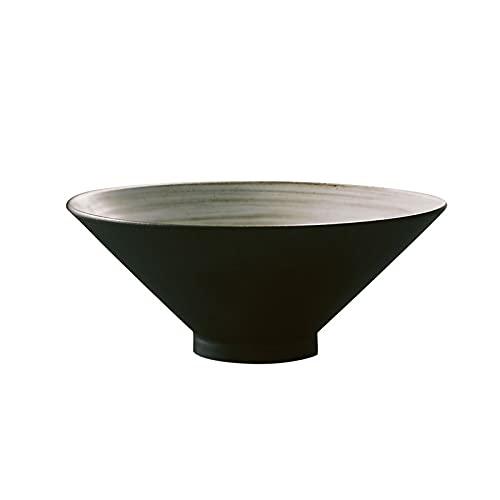 DSDBD W Bowl, tazón grande de cerámica Ramen, capacidad 1000 ml, para sopa, fideos, pho, Udon y Soba, negro mate