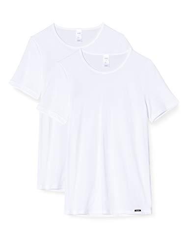 Skiny Herren Shirt Kurzarm 2er Pack Unterhemd, White, Large (Herstellergröße: L)