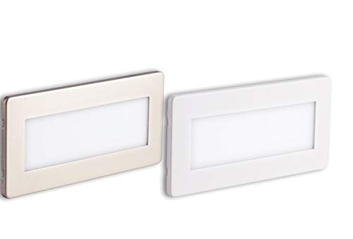 Faretto luce segnapasso ad incasso per esterni su cassetta 506 ip65 led 4000k doppia placca intercambiabile bianco nickel