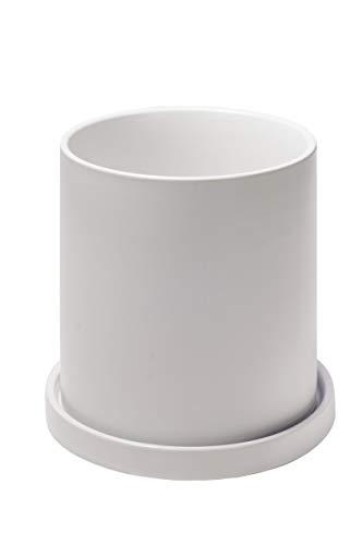 Ekirlin 植木鉢 陶器鉢 白 大型 おしゃれ 受け皿付き 底穴あり 観葉植物 鉢 プランター 鉢植え 北欧 室内 部屋 インテリア 18.6cm 8号