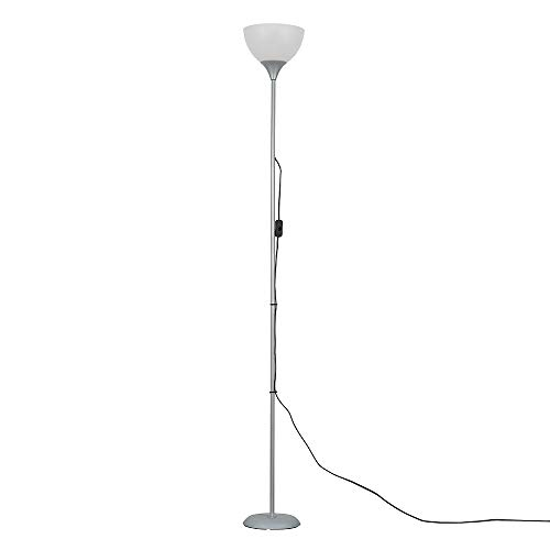 Modern Silver Uplighter Floor Lamp with a White Sh