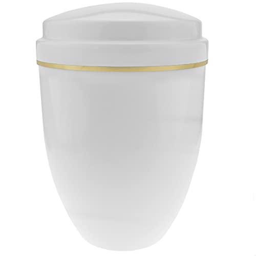 PrimeMatik - Urna para cenizas crematorias Recuerdo funerario Vasija de metal blanca 160x225 mm