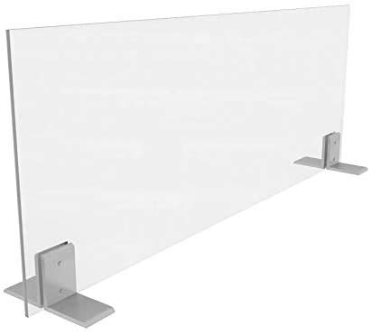 Sneeze Shield 24'Hx24'W   Clear Acrylic Barrier for Office   Freestanding Sneeze Guards with Aluminum Brackets