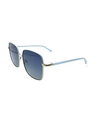 MR WONDERFUL Gafa sol mujer metal gris con detalle azul celeste,lentes en azul.