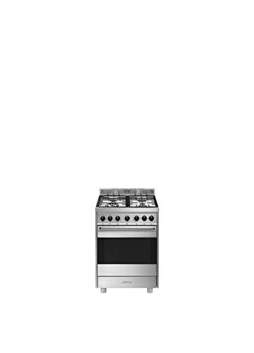 Smeg B61GMXI9 - Cocina (Cocina independiente, Acero inoxidable, Giratorio, Acero inoxidable, Frente, Encimera de gas)