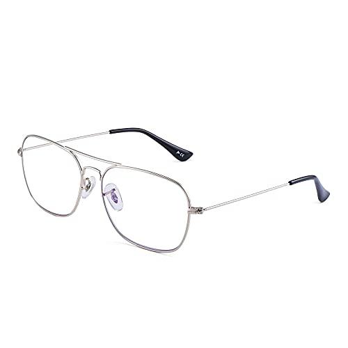 Flieger Blaues Licht blockiert Computer Brillen, Platz Augenschutz Video Eyeglasses Anti Blendung Damen Herren(Silberrahmen Schwarz Tempel Tipps)