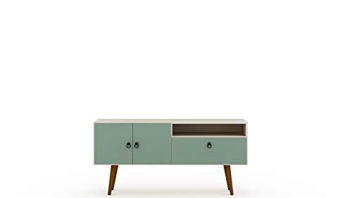 "Manhattan Comfort Tribeca Mid-Century Modern TV Panel with Overhead Décor Shelf, 53.94"", Off White/Green Mint"