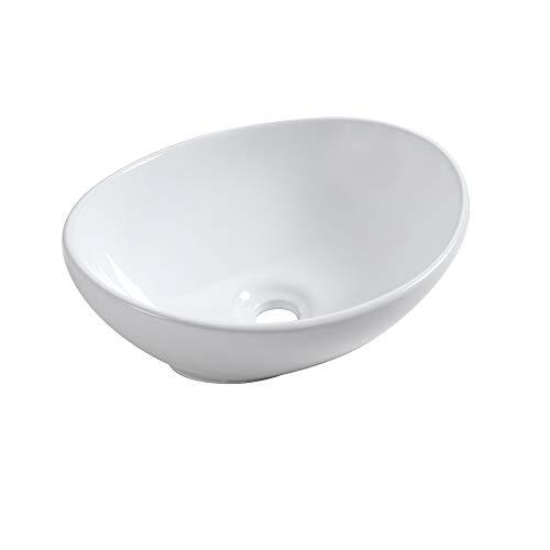 Sale!! Oval Vessel Sink - Sarlai 16x13 Modern Egg Shape Above Counter White Porcelain Ceramic Bath...