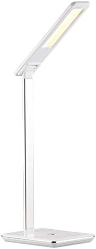 Lunartec Schreibtischlampe: Schreibtisch-Lampe, Qi-kompatibel, 4 Lichtfarben, 800 Lumen, dimmbar (Kabellose LED Schreibtischlampe)