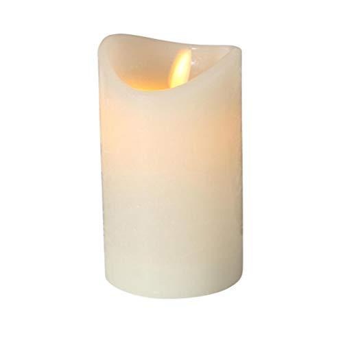 LED Kerze cremeweiß warmes Licht 6h Timer schwingende Flamme Höhe 12 cm Durchmesser 7,5 cm