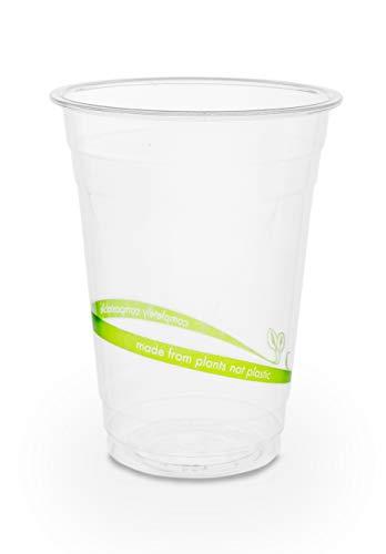 50 x Vasos desechables para bebidas frías | Vajillas ecológicas de un sólo uso | Vaso 100% compostable y biodegradable | estable y claro | Copas de bio PLA perfectos para fiestas y celebraciones