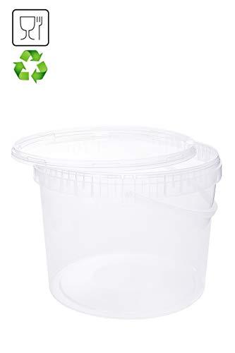 Eimer mit Deckel 10L Transparent Kunststoffeimer Deckel Henkel Lebensmittelecht Hochwertiger (1x 10 Liter)