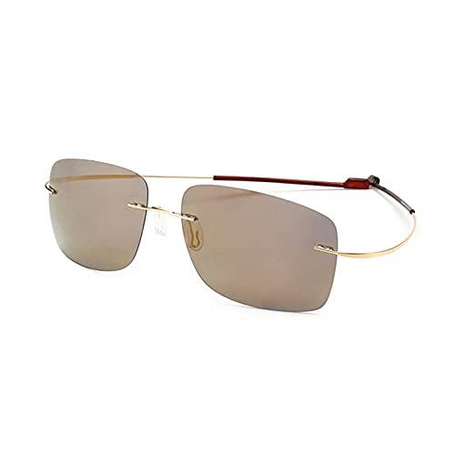 Gafas de sol polarizadas para conducción, para hombre, gafas de sol, lentes de espejo elásticas, ligeras, con marco de color dorado