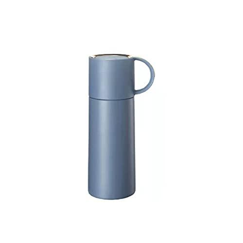 XMTT Botella de gran capacidad simple estudiante botella de acero inoxidable a prueba de fugas taza de doble mango portátil botella de deportes al aire libre azul