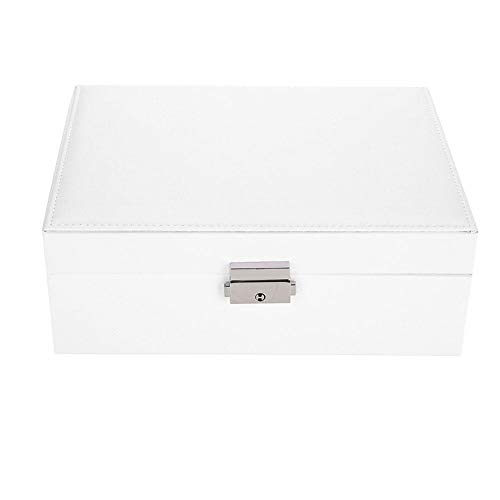 Two-Layer Lint Jewelry Box with Lock, Solid Color Leather Jewelry Storage Organizer Portable Travel Jewelry Case Gift Box Good Gift for Firend's Birthday(White)